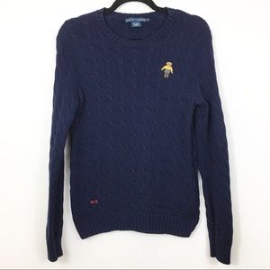 Ralph Lauren RL13 Polo Bear Cable Knit Sweater L